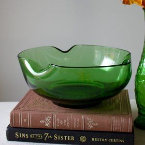 Vintage Green Glass Bowl with Folded Edges